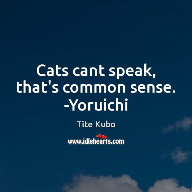 Cats cant speak, that's common sense. -Yoruichi Image