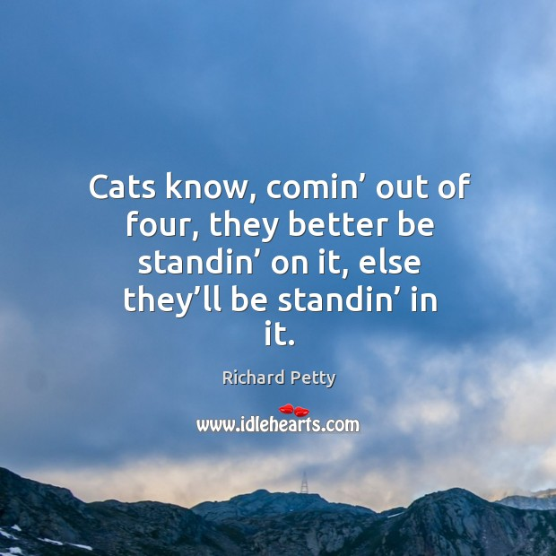 Cats know, comin' out of four, they better be standin' on it, else they'll be standin' in it. Image