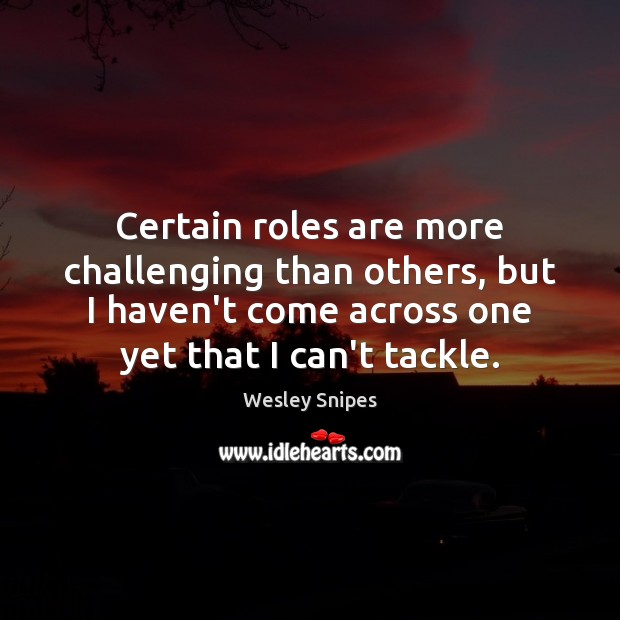 Certain roles are more challenging than others, but I haven't come across Wesley Snipes Picture Quote
