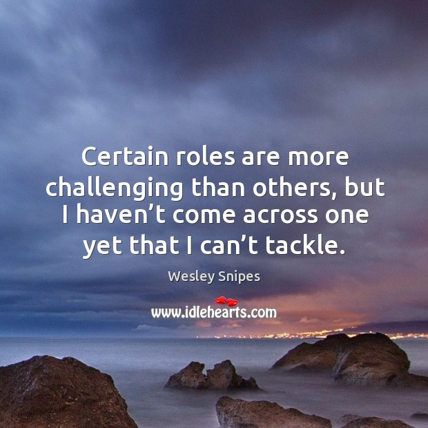 Certain roles are more challenging than others, but I haven't come across one yet that I can't tackle. Wesley Snipes Picture Quote