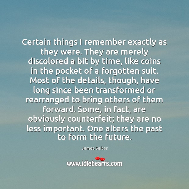Certain things I remember exactly as they were. They are merely discolored James Salter Picture Quote