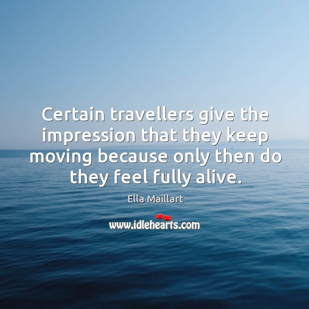 Image, Certain travellers give the impression that they keep moving because only then do they feel fully alive.