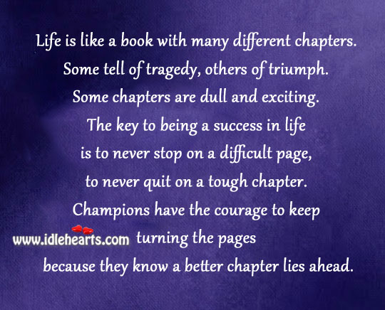 Life Is Like A Book With Many Different Chapters.