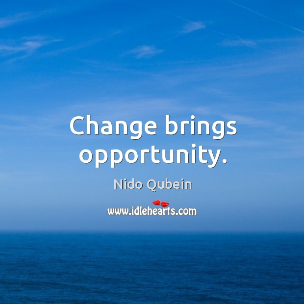 Change brings opportunity. Nido Qubein Picture Quote