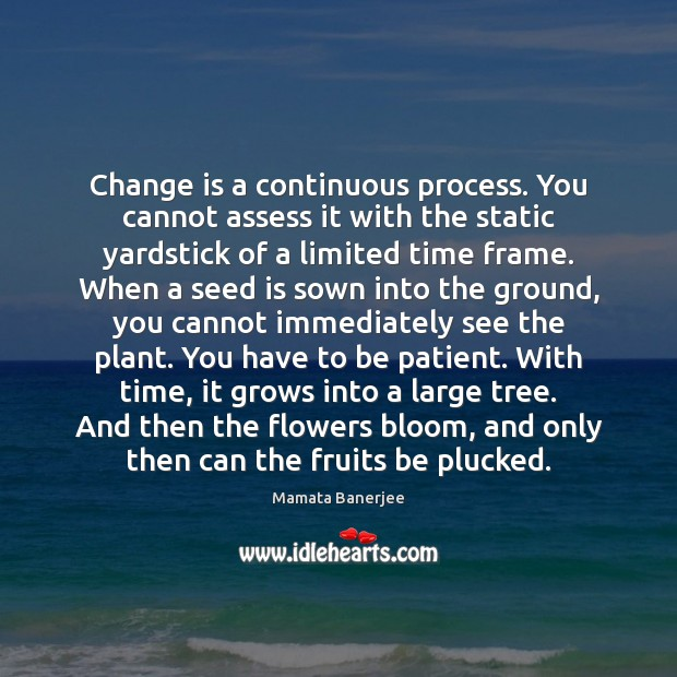 Change is a continuous process. You cannot assess it with the static Image