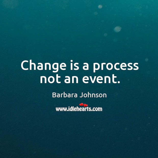 Change is a process not an event. Barbara Johnson Picture Quote