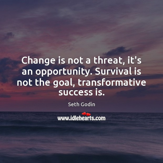 Change is not a threat, it's an opportunity. Survival is not the Seth Godin Picture Quote