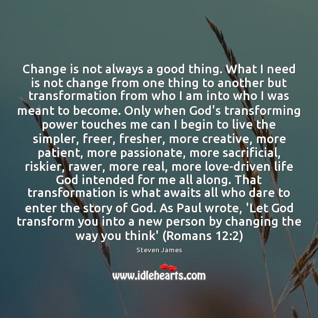 Change is not always a good thing. What I need is not Steven James Picture Quote