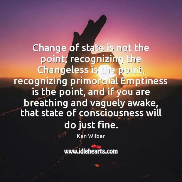 Change of state is not the point; recognizing the Changeless is the Ken Wilber Picture Quote