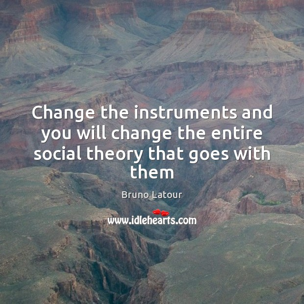 Image, Change the instruments and you will change the entire social theory that goes with them