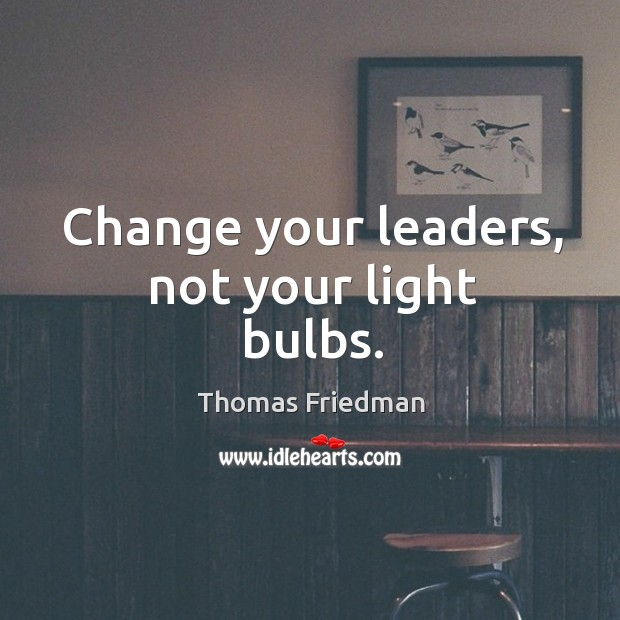 Image, Change your leaders, not your light bulbs.