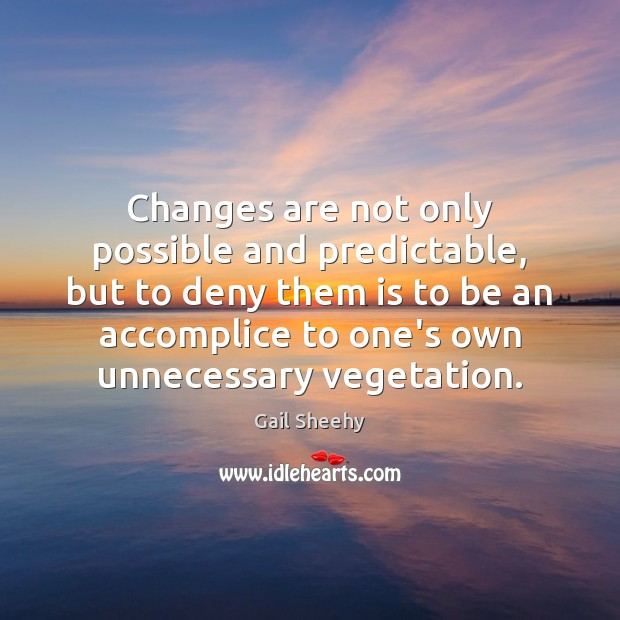 Image, Changes are not only possible and predictable, but to deny them is