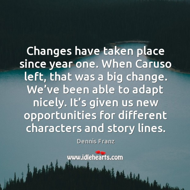 Changes have taken place since year one. When caruso left, that was a big change. We've been able to adapt nicely. Image