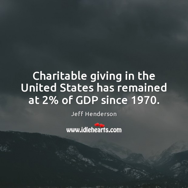 Image, Charitable giving in the United States has remained at 2% of GDP since 1970.