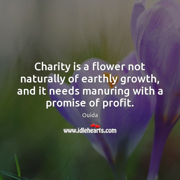 Charity is a flower not naturally of earthly growth, and it needs Charity Quotes Image