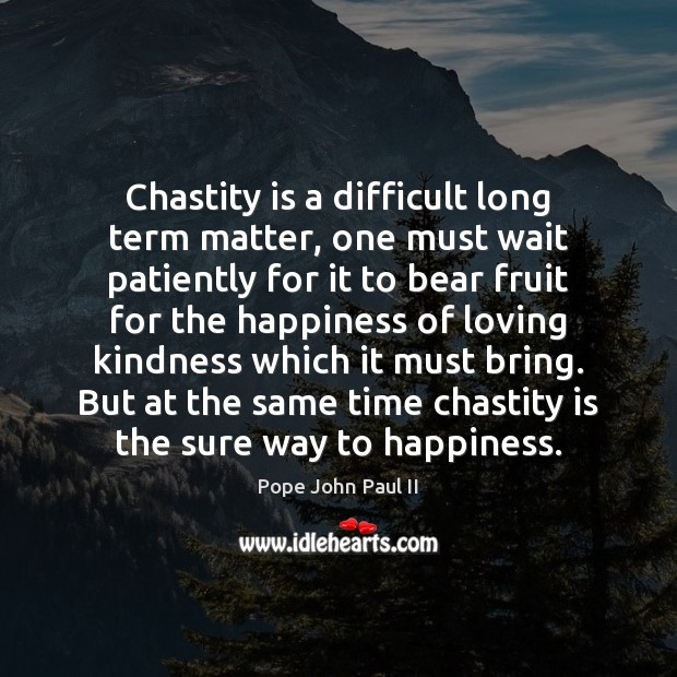 Chastity is a difficult long term matter, one must wait patiently for Pope John Paul II Picture Quote