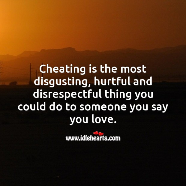 Cheating is the most disgusting, hurtful and disrespectful thing you could ever do. Cheating Quotes Image