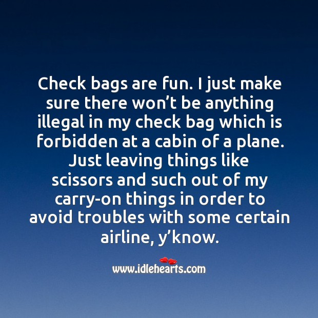 Check bags are fun. I just make sure there won't be anything illegal in my check bag Image