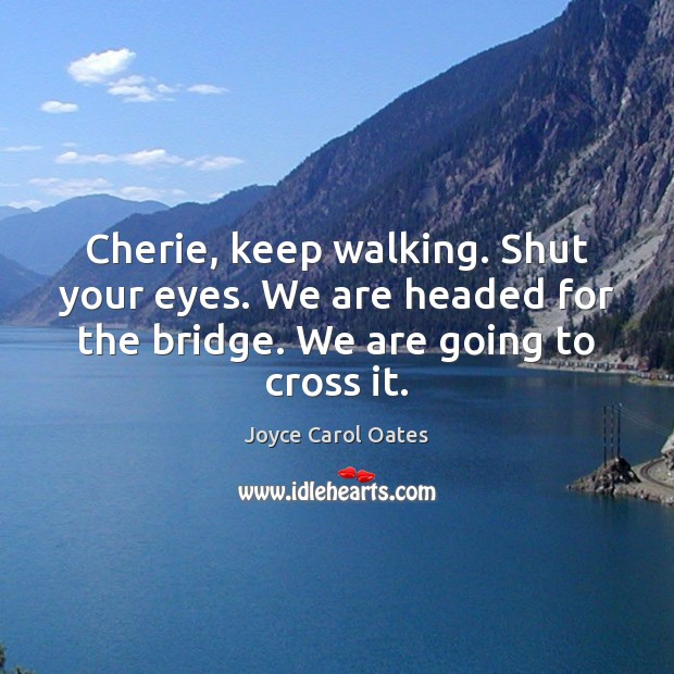 Cherie, keep walking. Shut your eyes. We are headed for the bridge. Joyce Carol Oates Picture Quote