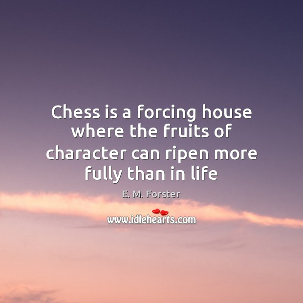Chess is a forcing house where the fruits of character can ripen more fully than in life E. M. Forster Picture Quote