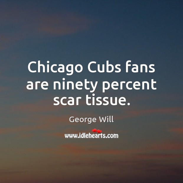 Chicago Cubs fans are ninety percent scar tissue. Image