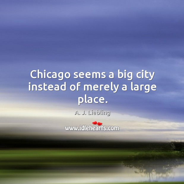 Image, Chicago seems a big city instead of merely a large place.