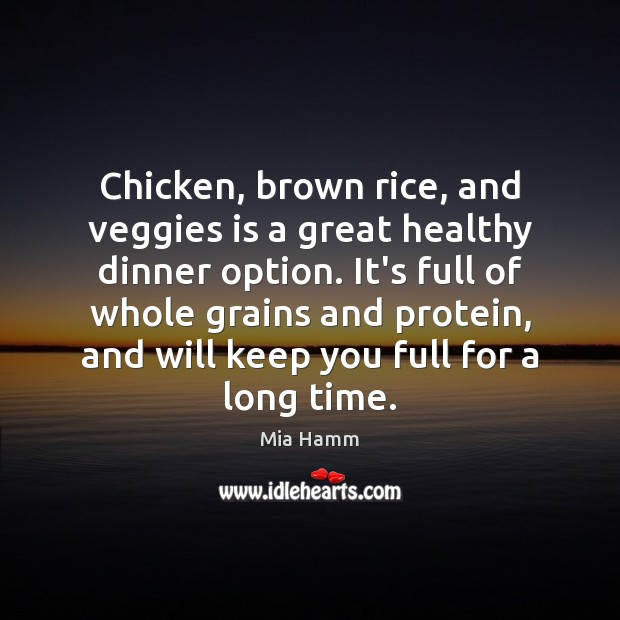 Image, Chicken, brown rice, and veggies is a great healthy dinner option. It's