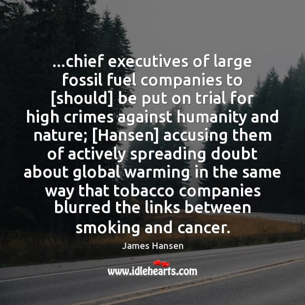 …chief executives of large fossil fuel companies to [should] be put on James Hansen Picture Quote