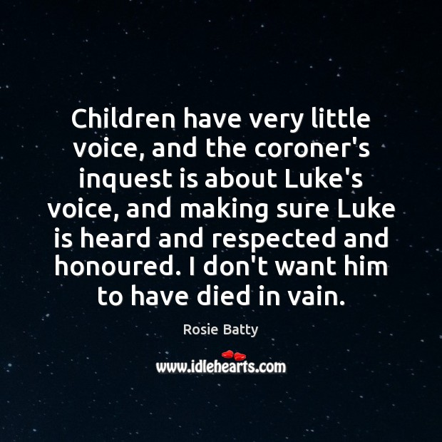 Children have very little voice, and the coroner's inquest is about Luke's Image