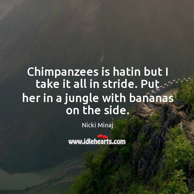 Chimpanzees is hatin but I take it all in stride. Put her in a jungle with bananas on the side. Image