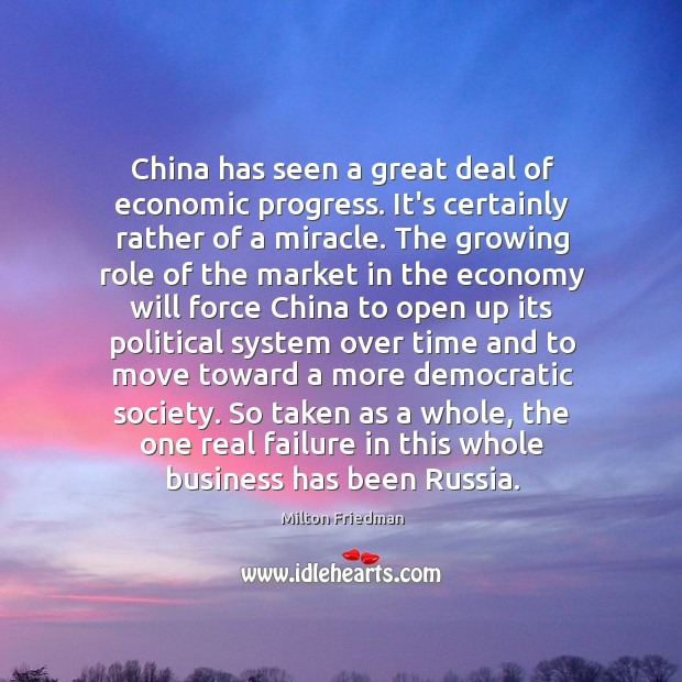 China has seen a great deal of economic progress. It's certainly rather Image