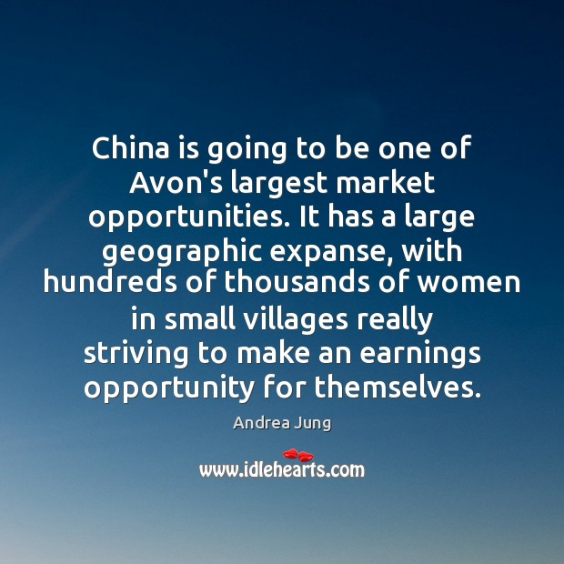 Image, China is going to be one of Avon's largest market opportunities. It