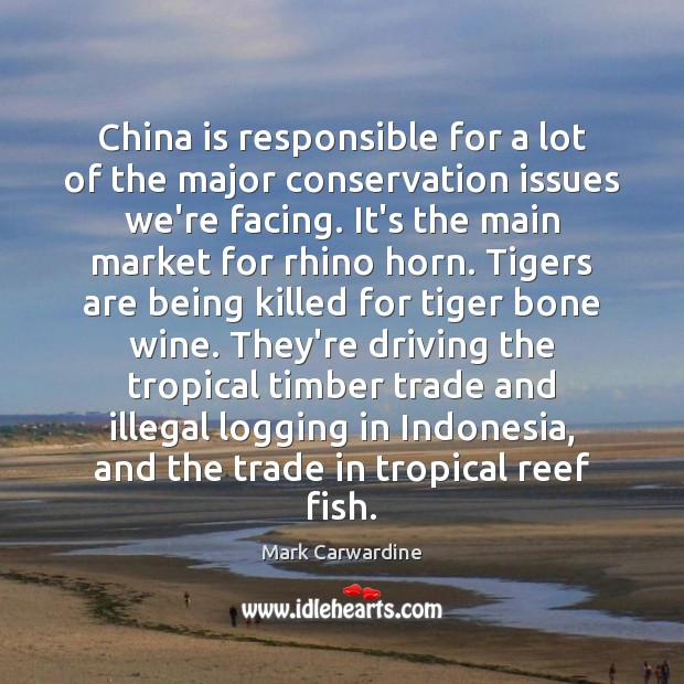 China is responsible for a lot of the major conservation issues we're Driving Quotes Image