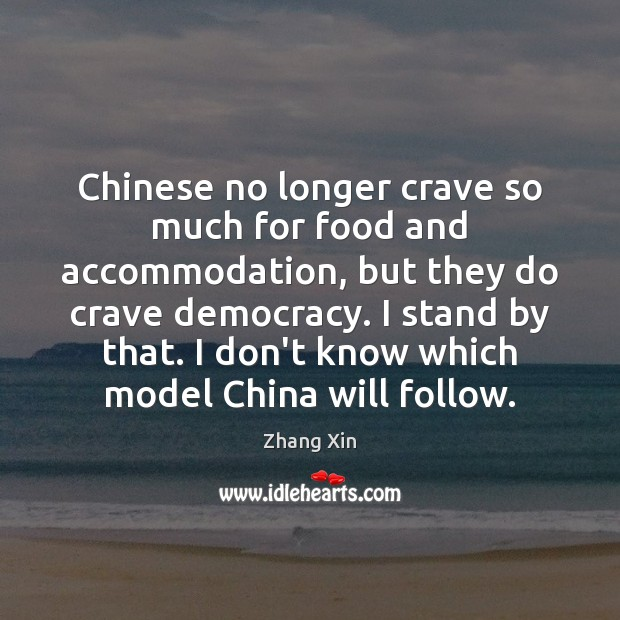 Chinese no longer crave so much for food and accommodation, but they Zhang Xin Picture Quote