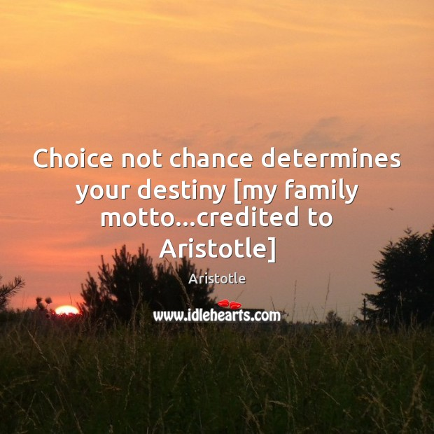 Choice not chance determines your destiny [my family motto…credited to Aristotle] Image