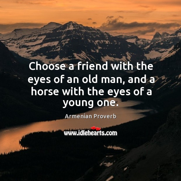 Image, Choose a friend with the eyes of an old man, and a horse with the eyes of a young one.