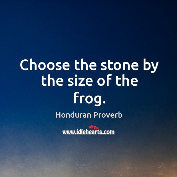 Choose the stone by the size of the frog. Honduran Proverbs Image