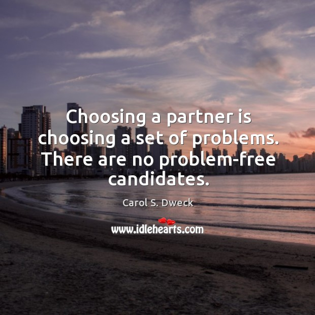 Choosing a partner is choosing a set of problems. There are no problem-free candidates. Image