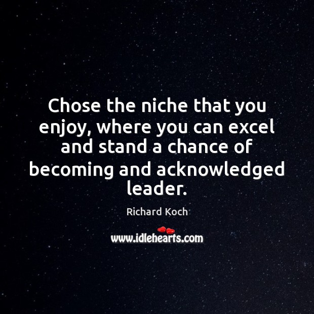 Image, Chose the niche that you enjoy, where you can excel and stand
