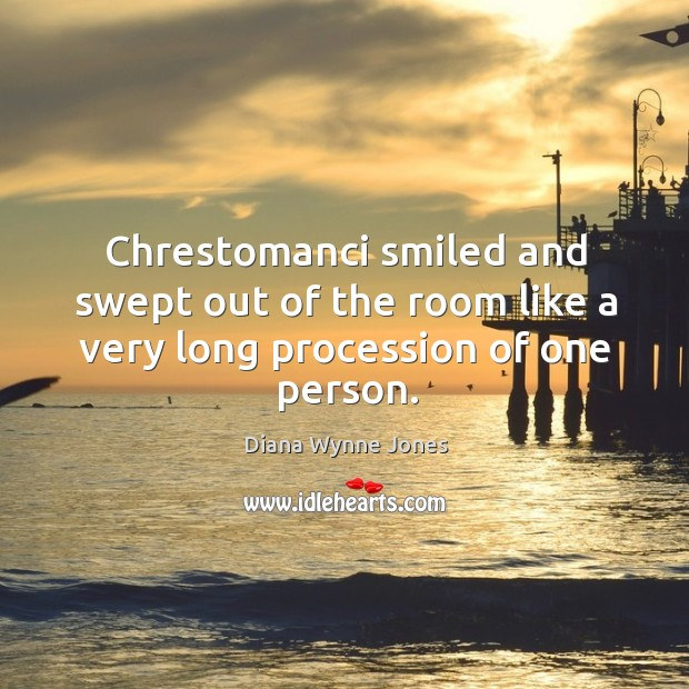 Chrestomanci smiled and swept out of the room like a very long procession of one person. Image