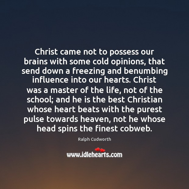 Image, Christ came not to possess our brains with some cold opinions, that