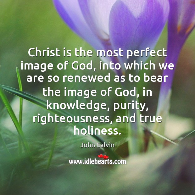 Christ is the most perfect image of God, into which we are John Calvin Picture Quote