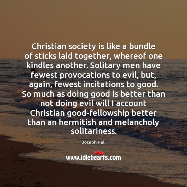 Christian society is like a bundle of sticks laid together, whereof one Joseph Hall Picture Quote