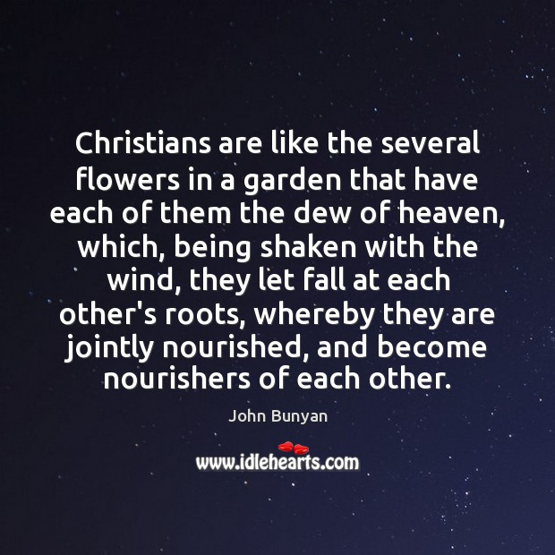 Christians are like the several flowers in a garden that have each John Bunyan Picture Quote
