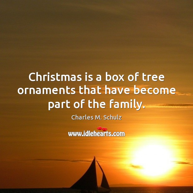 Image, Christmas is a box of tree ornaments that have become part of the family.