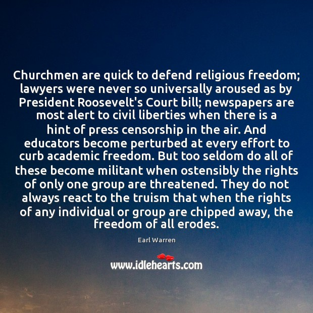 Churchmen are quick to defend religious freedom; lawyers were never so universally Image