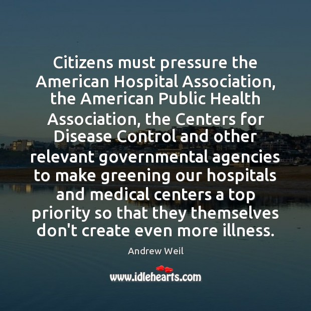 Citizens must pressure the American Hospital Association, the American Public Health Association, Andrew Weil Picture Quote