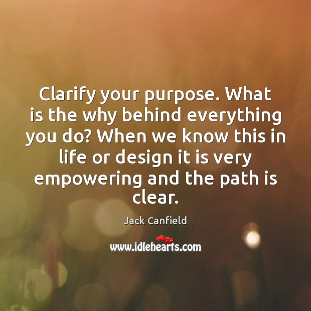 Image, Clarify your purpose. What is the why behind everything you do? When