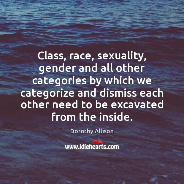 Class, race, sexuality, gender and all other categories by which we categorize Image