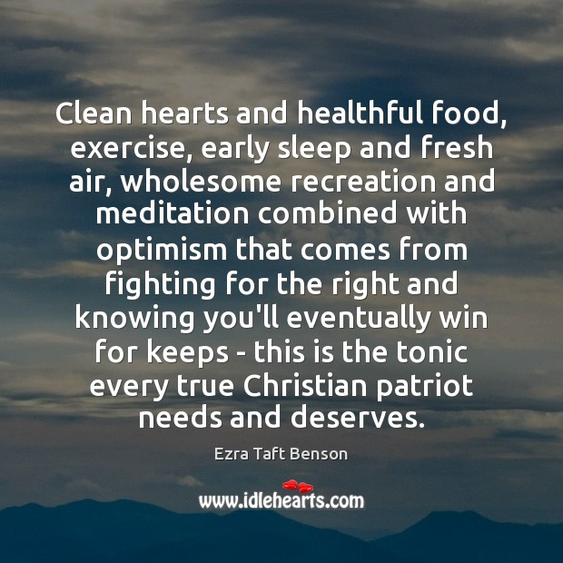 Image, Clean hearts and healthful food, exercise, early sleep and fresh air, wholesome